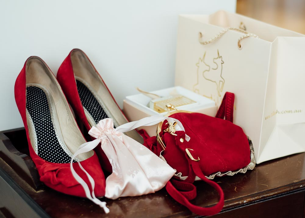 A red and black bag