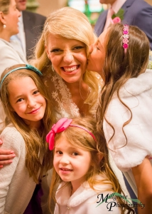 Bride Melissa with some little friends