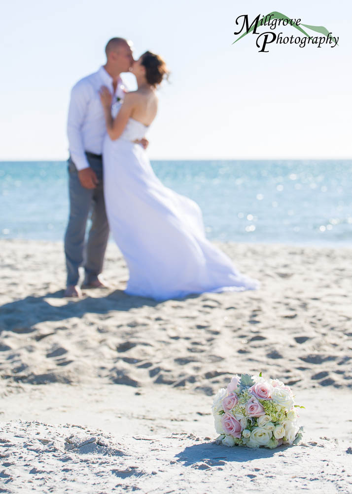 Bridal bouquet on the beach