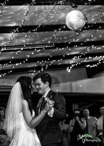 Bride and groom, first dance - black and white, Chateau Wyuna