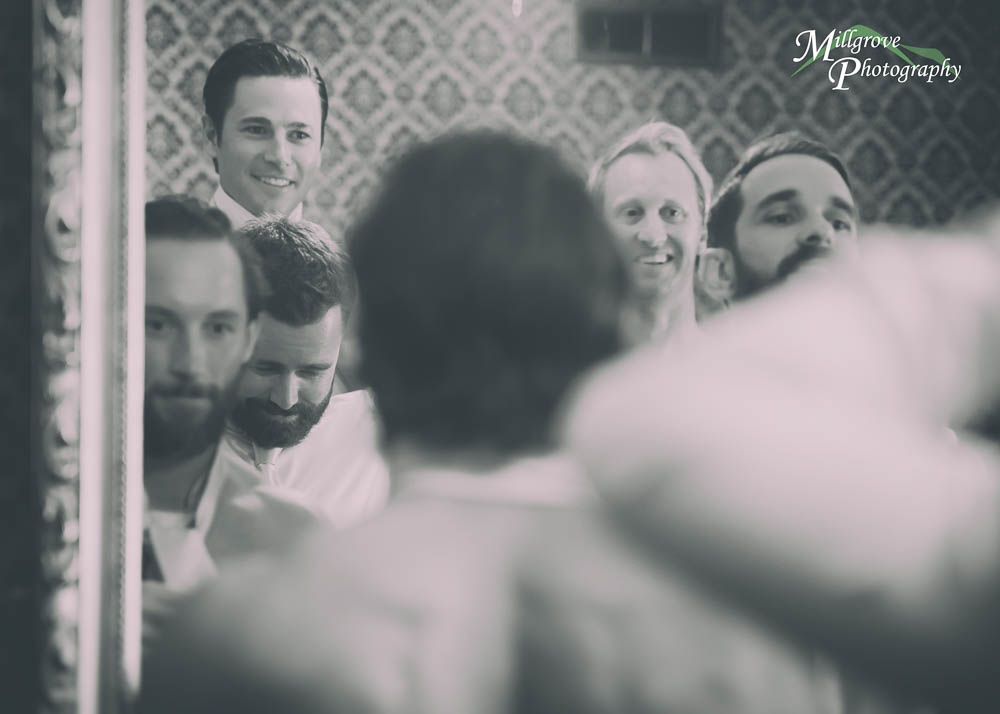 Groomsmen and groom, faded vintage shot - at The Gables