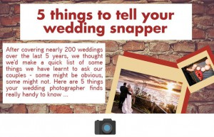 5 things to tell your wedding photographer