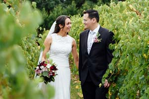 Wild Cattle Creek Winery Wedding, Couple in the vineyard in the Yarra Valley Melbourne