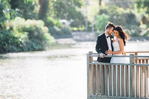 Stef and Ashley's wedding at St Monica's, bridal shoot at Queens Park, Moonee Ponds