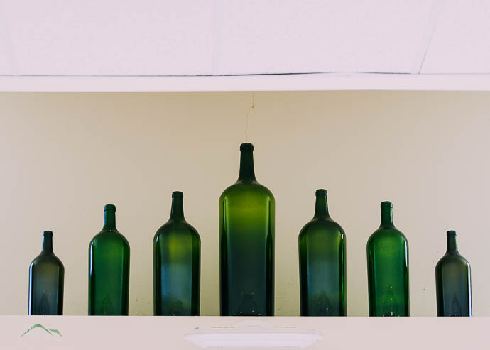 Green bottles in a row