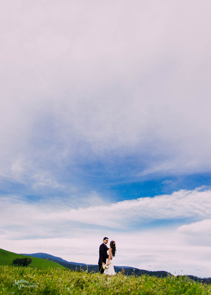 Bride and groom with a big sky behind them