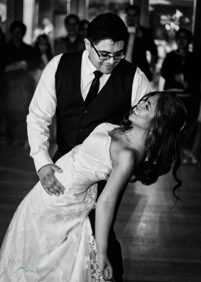 Bride and groom having their first dance at Immerse Winery, Yarr