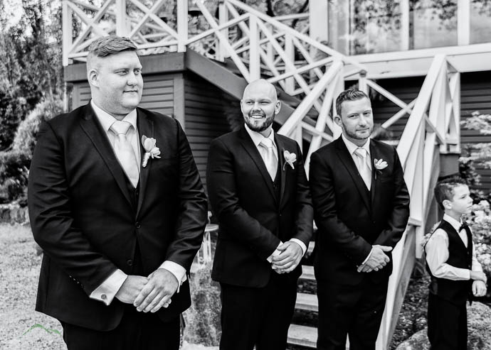 Groom and Groomsmen waiting for the Bride at a Lake House, Dayle
