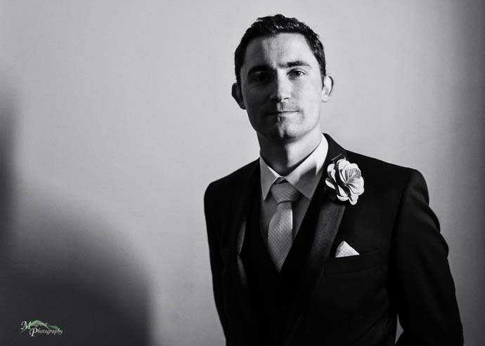 Portrait of Groom in black and white