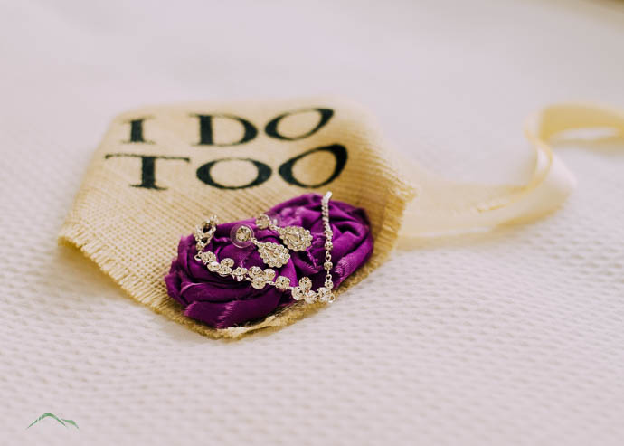 Bride's Jewellery on purple flowers