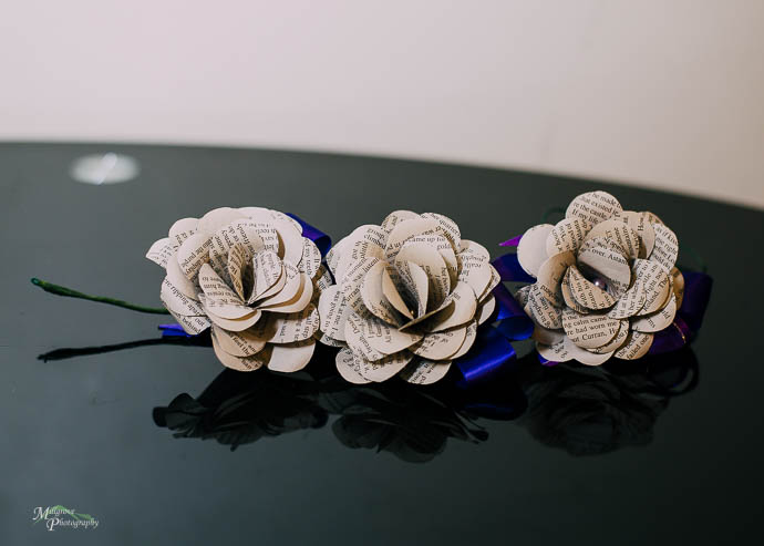 Buttonhole flowers for wedding, made from paper