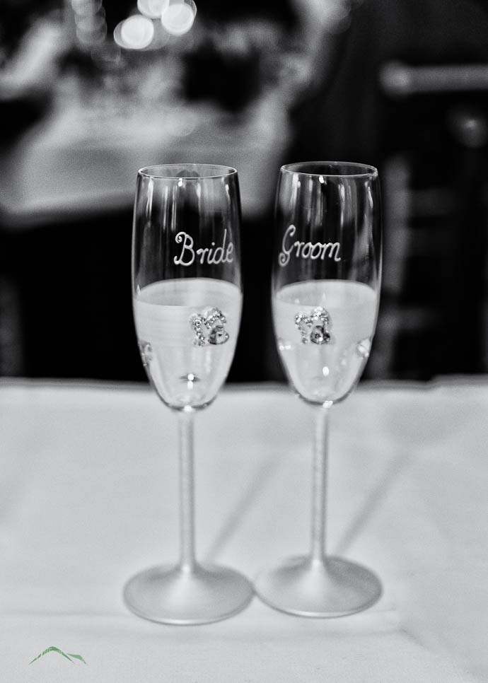 Bride and Groom glasses at a reception