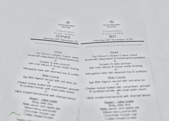 Menus at a wedding reception
