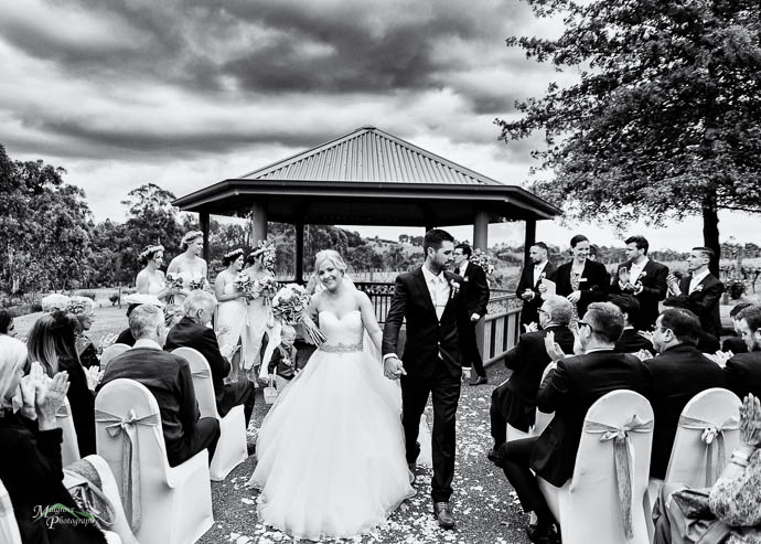 Ceremony at wild cattle creek winery, black and white