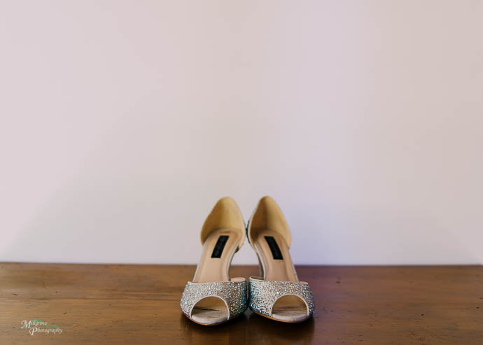 Womens shoes on a wooden table