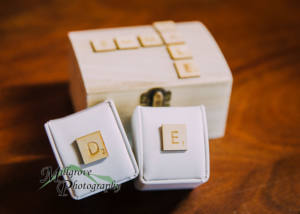 Wedding rings on a customised ring box