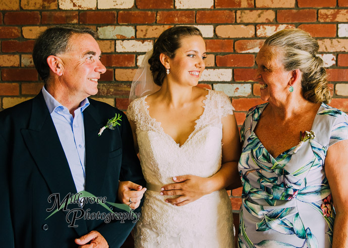 A bride with her parents