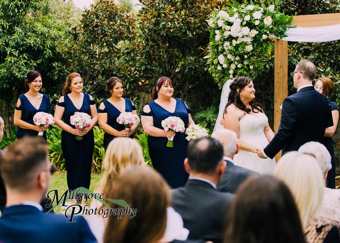 A wedding ceremony in a garden