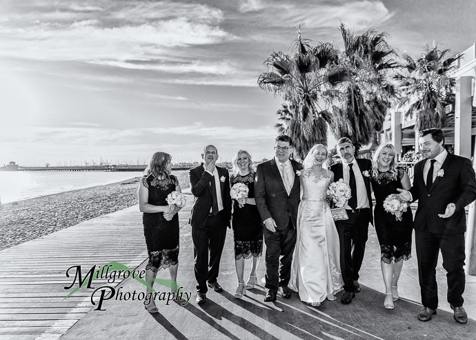 Wedding party on the beach at St Kilda