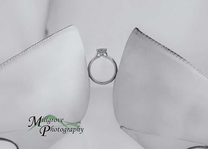 bridal shoes and engagement ring, black and white