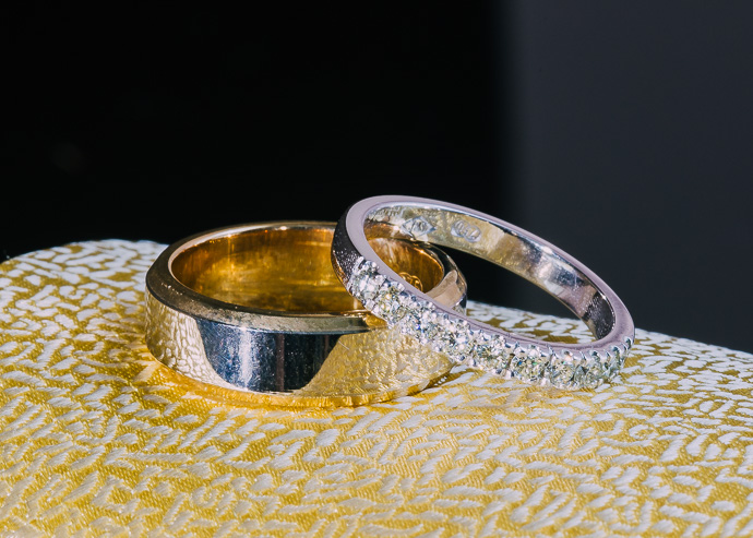 Wedding rings on a yellow tie