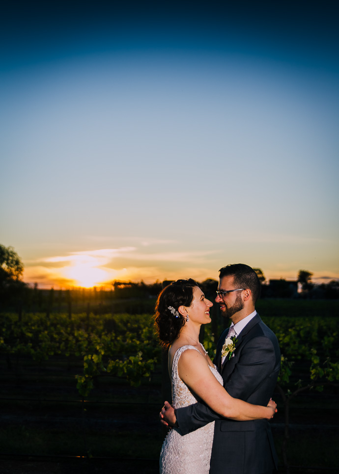 A bride and groom at a winery wedding at Witchmount Estate