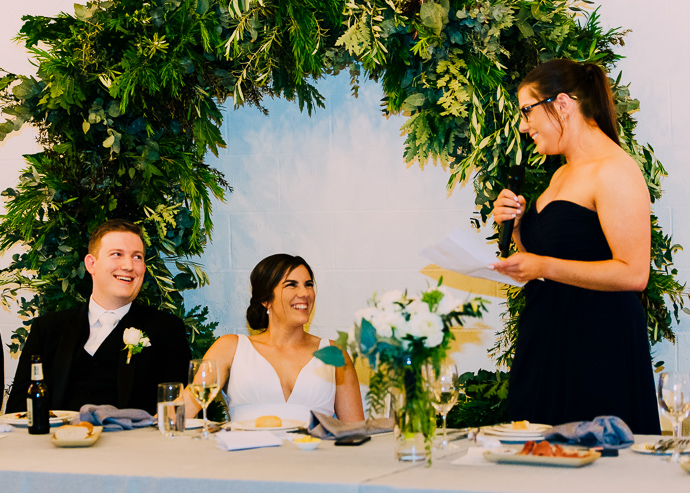 A Guest making a speech at a wedding