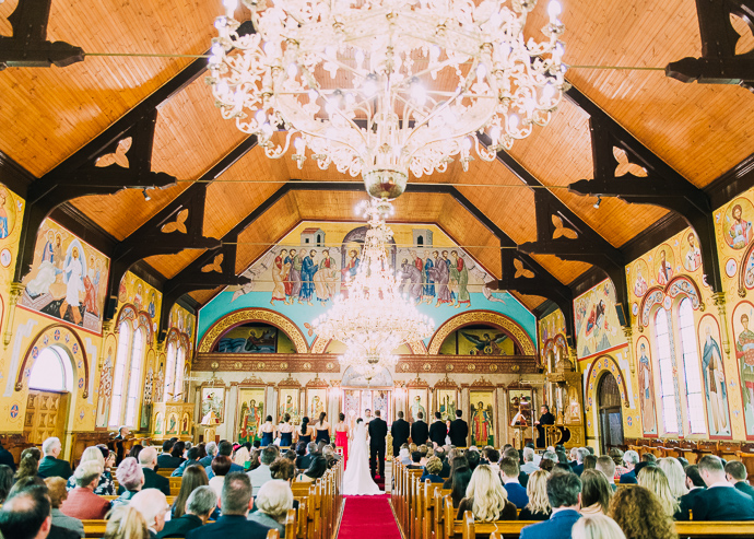 A Greek wedding ceremony inside St Eustathios in South Melbourne