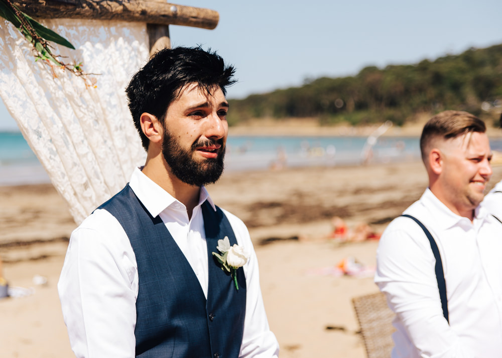 A couple getting married at a Lorne Beach Pavilion wedding