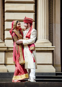 Married couple outside the Old Treasury Building, Melbourne