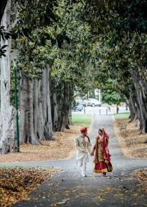 Bride and groom in Treasury Gardens