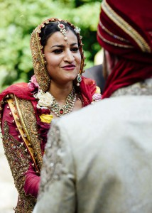 Bride saying her vows, Treasury Gardens, Melbourne