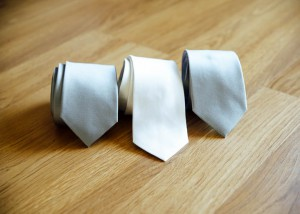 Bridal wedding ties, grey and white