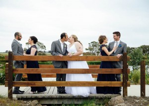 Bridal party on bridge, Geelong wedding