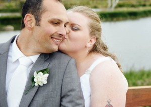 Geelong wedding, bride kissing groom
