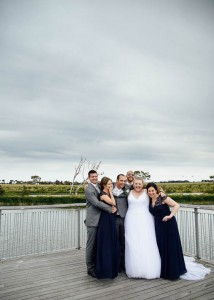 Bridal party on bridge, Geelong