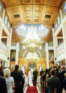 Wedding inside Greek church St Johns, Lygon St, Carlton North