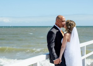 Bride and groom beach wedding Melbourne, Kerford Rd Pier
