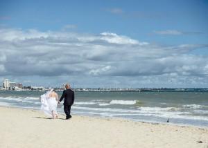 Bride and groom beach wedding Melbourne