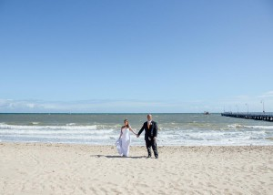 Bride and groom beach wedding Melbourne