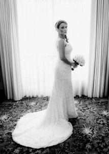 Portrait of bride, black and white, backlit