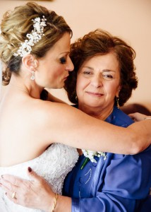Bride kissing her mother