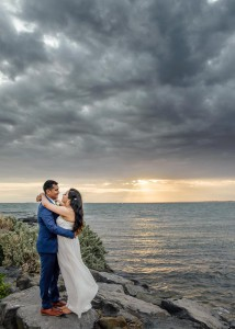 Williamstown wedding beach sunset, bride and groom, bridal p