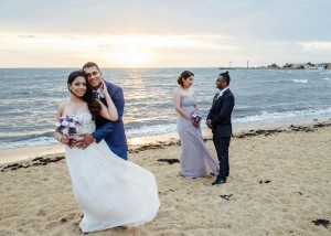 Williamstown wedding beach sunset, bride and groom, bridal party