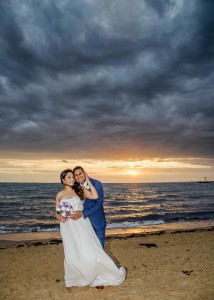 Williamstown wedding beach sunset, bride and groom
