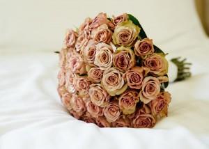 Bridal bouquet, pink vintage roses