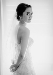 Bride in black and white, backlit