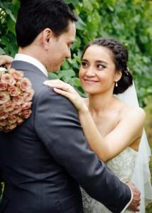 47-Bride and groom in vineyard wedding, Yarra Valley-Cattle-Creek-Wedding