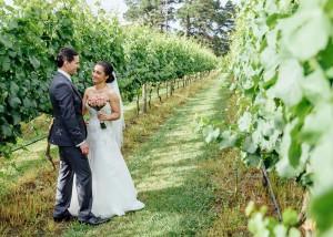 Bride and groom in vineyard wedding, Yarra Valley