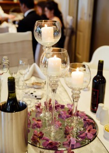 Centrepieces on wedding table